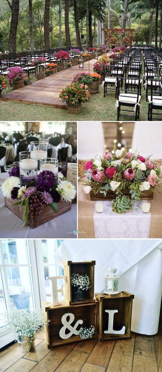Decoraci n con palets y cajones de madera para bodas con - Ideas con palets de madera ...