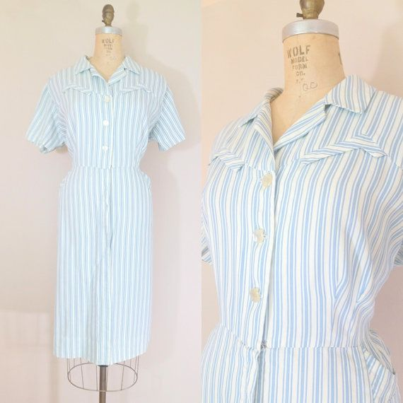 Vintage House Dress Blue /& White Stripe Dress with Belted Waist and Button Front Closure Size M