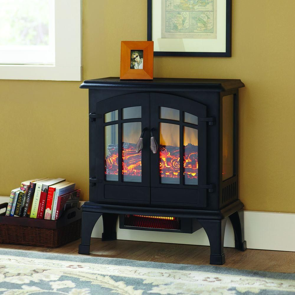Hampton Bay Legion 1 000 Sq Ft Panoramic Infrared Electric Stove Est 534t 10 Y The Home Depot Fireplace Heater Electric Stove Stove Heater