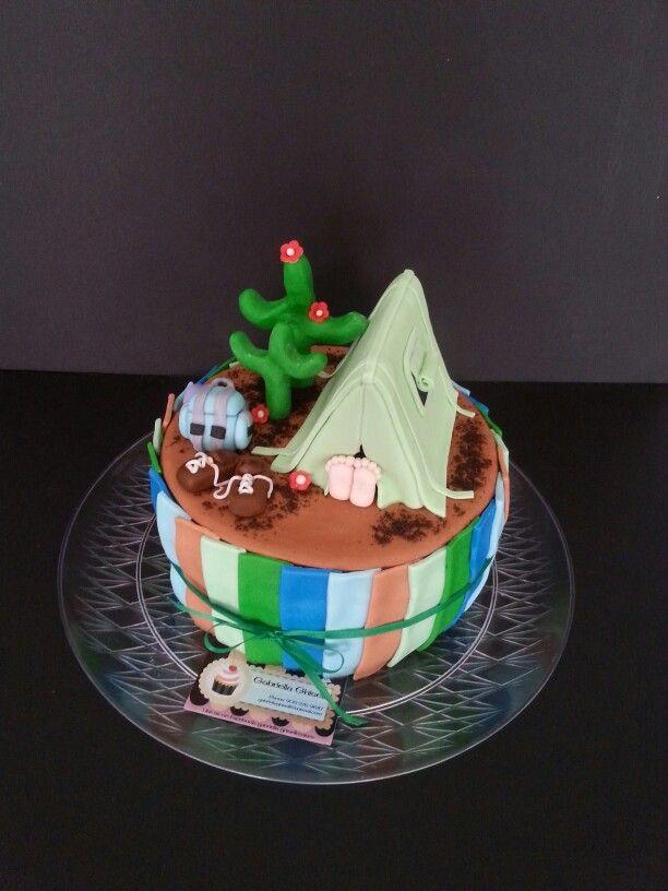 Camping tent cake