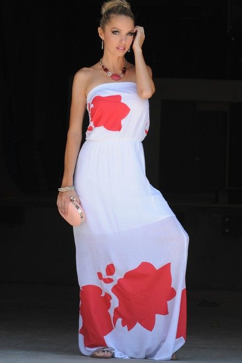 WHITE RED LARGE FLORAL PRINT TUBE TOP LONG MAXI DRESS-Women Maxi ...