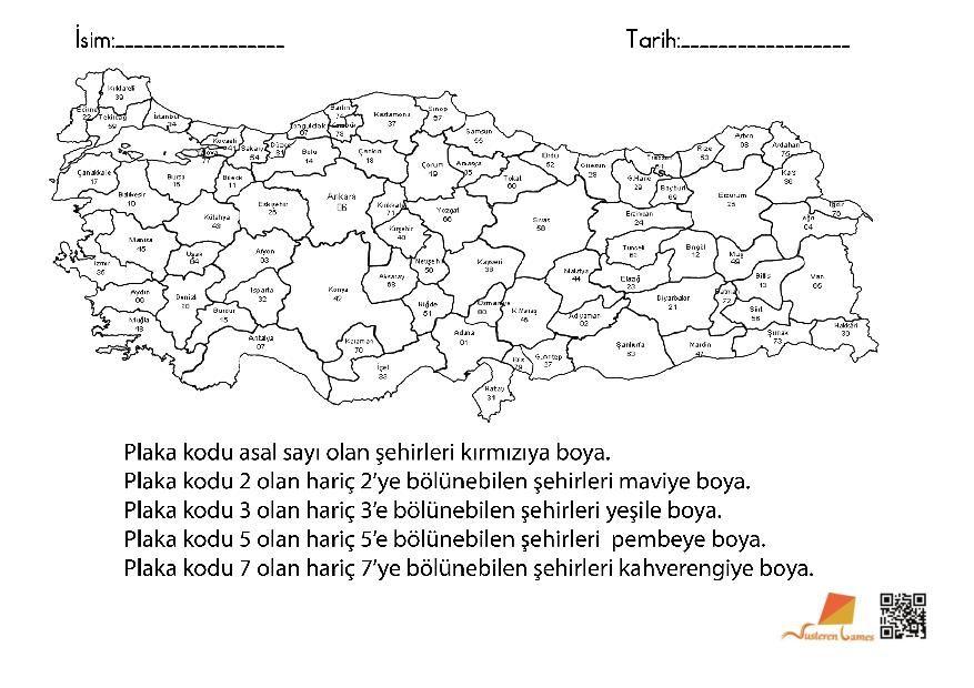 Bolunebilme Turkiye Haritasi Boyama Matematik Turkiye Plakalar