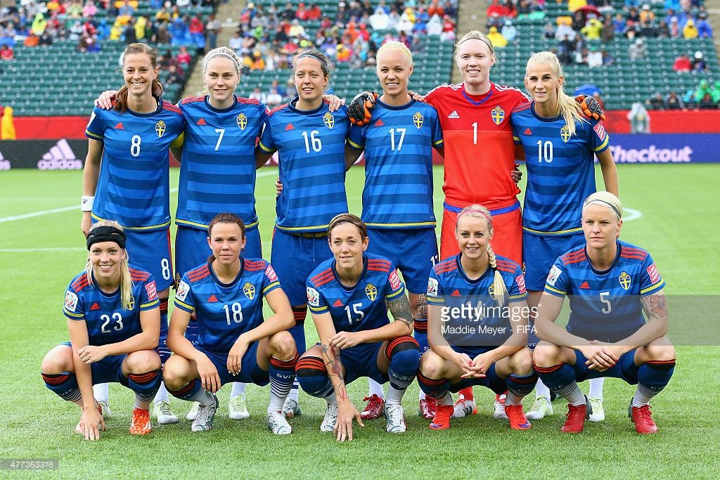 The starting line up for Sweden before their Women's World