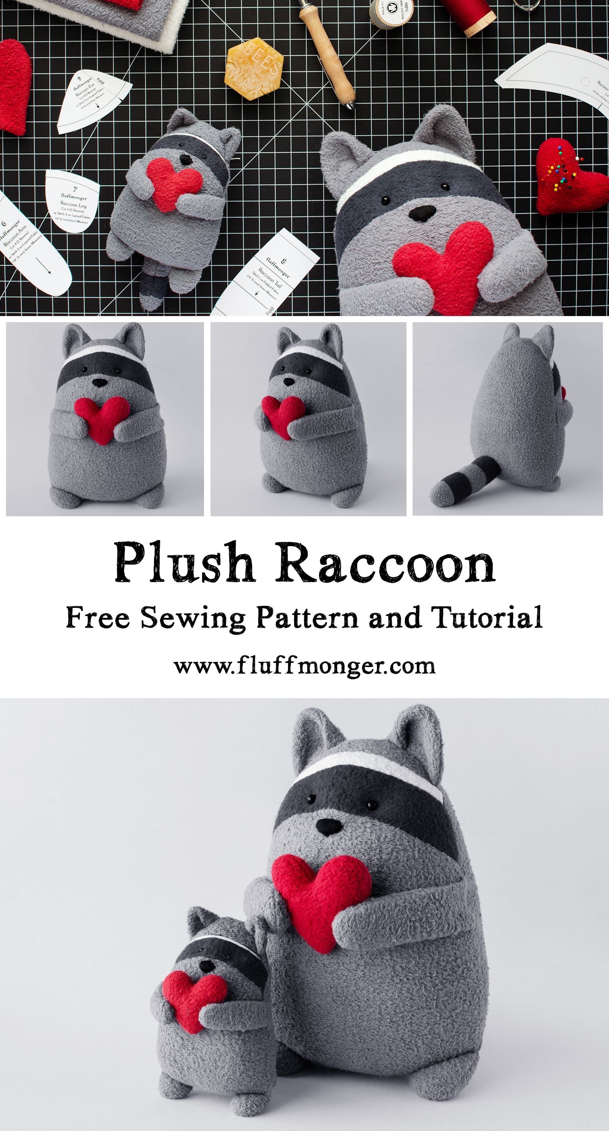 Scrabbles the Raccoon Free Sewing Pattern and Tutorial #stuffedtoyspatterns