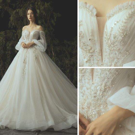 Luxury / Gorgeous Ivory Wedding Dresses 2019 Ball Gown Lace Flower Beading Crystal Sequins St...