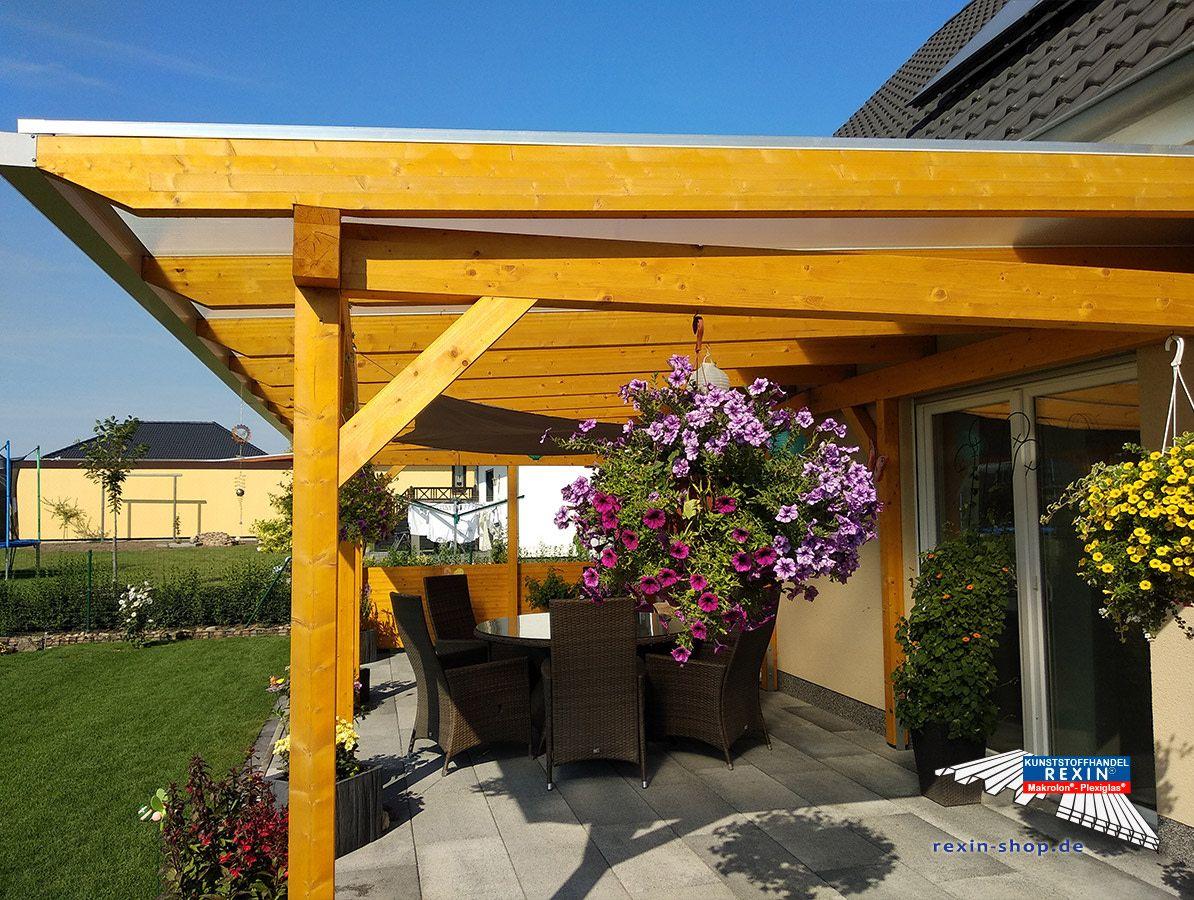 Ein Holz Terrassendach Der Marke Rexocomplete Xxl 8 60m X 4m Mit Rexoclear 16mm Pc Stegplatten In Eiskristall Holzfarbe Kie Pergola Outdoor Structures Outdoor