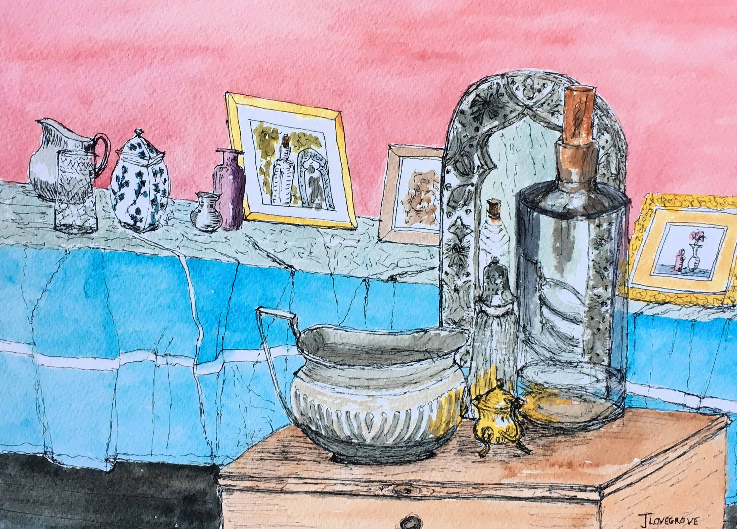 The Still Life Props Shelf An Original Ink And Watercolour