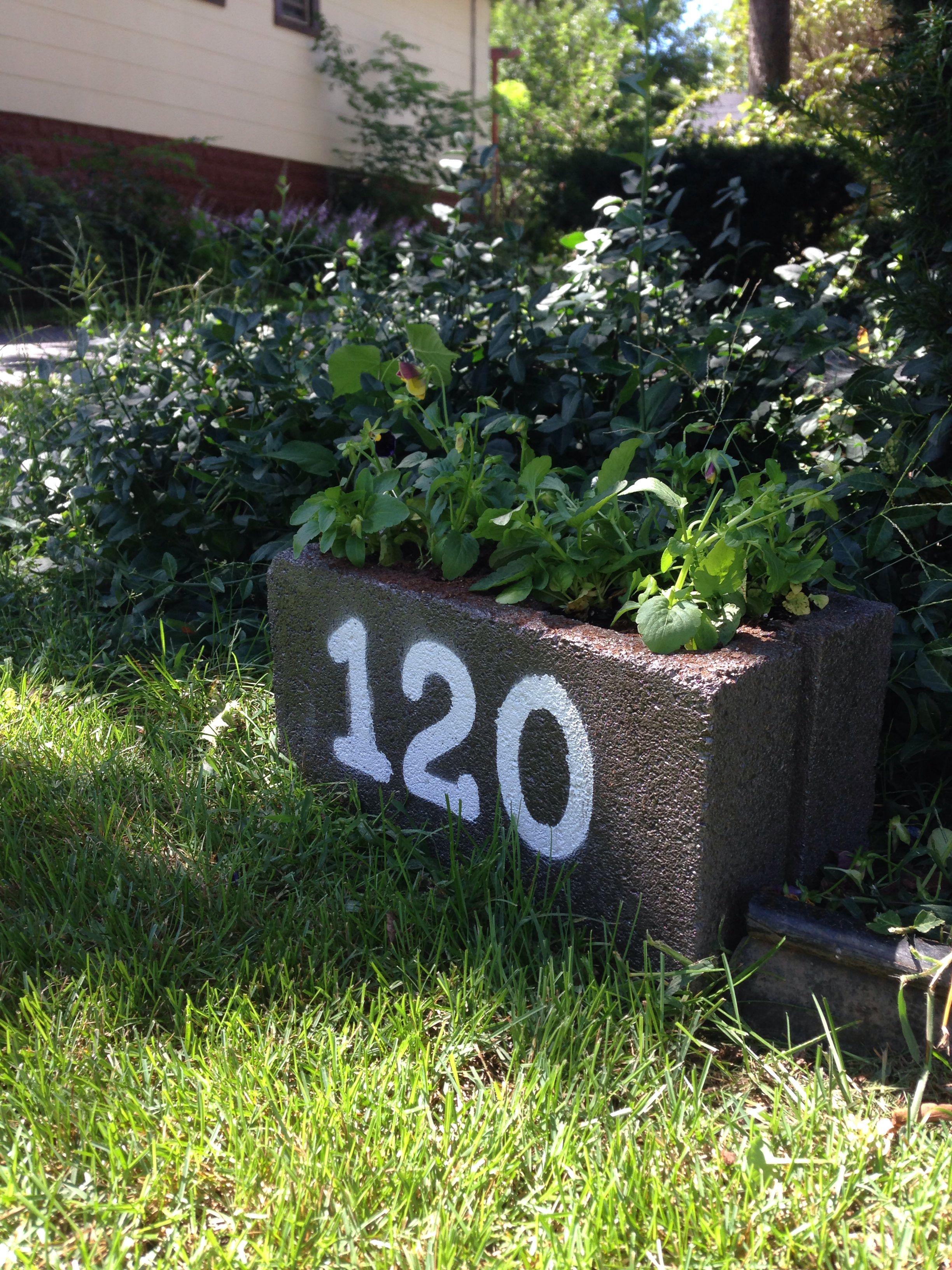 Address Number Planter Recycled Cinder Block Spray Paint Homemade Stencils Cinderblock Planter Homemade Stencils Cinder Block