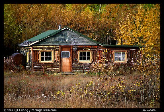 Wooden Cabin In Alaska Usa The Most Gorgeous Colors