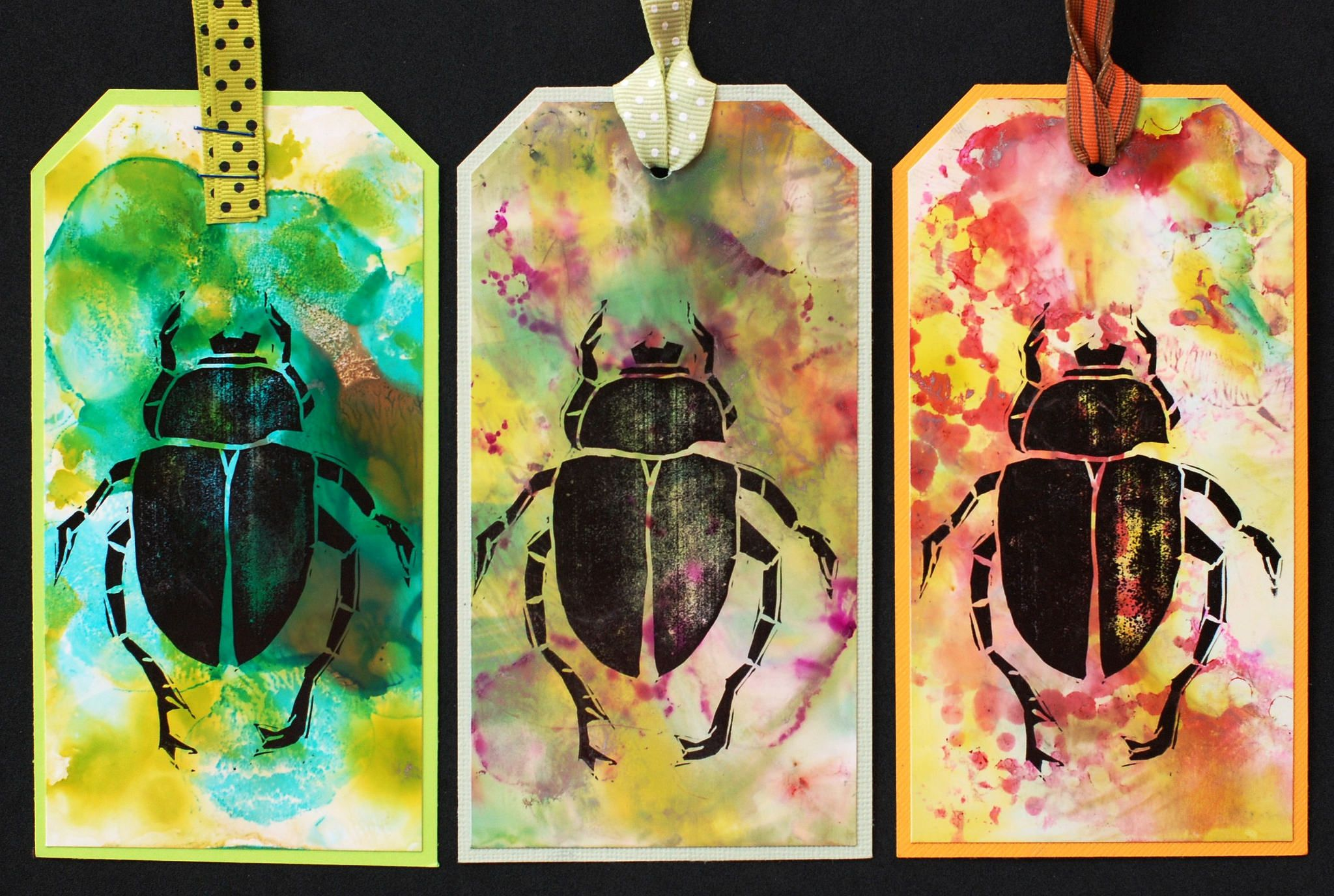 https://flic.kr/p/ygHTP9 | Art Tags - Beetle Bugs Set 2 | Art tags made with alcohol ink on photo paper and rubber stamped images.