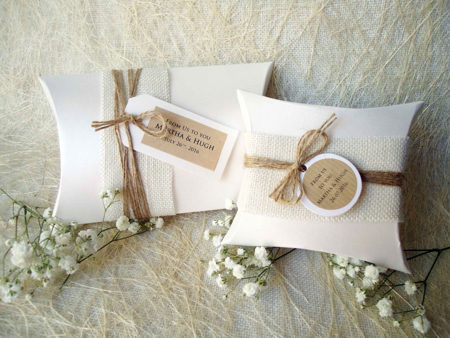 Wedding Favor Boxes Party Favor Boxes Pillow Boxes Burlap Box White ...