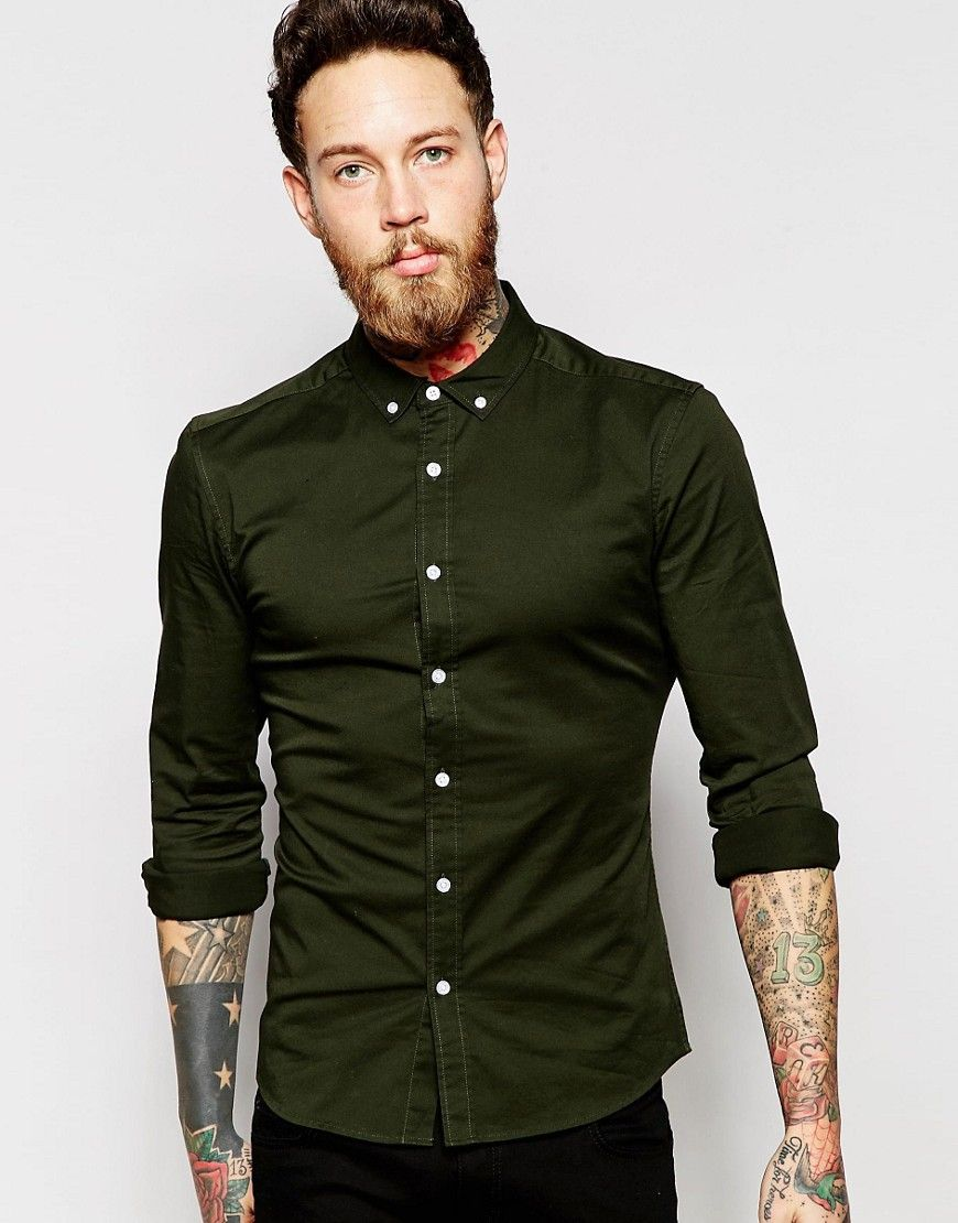 ASOS+Skinny+Shirt+In+Khaki+Twill+With+Long+Sleeves