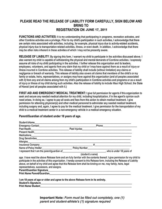 coaching release of liability Maui Football Combine 2011 Release - sample release form