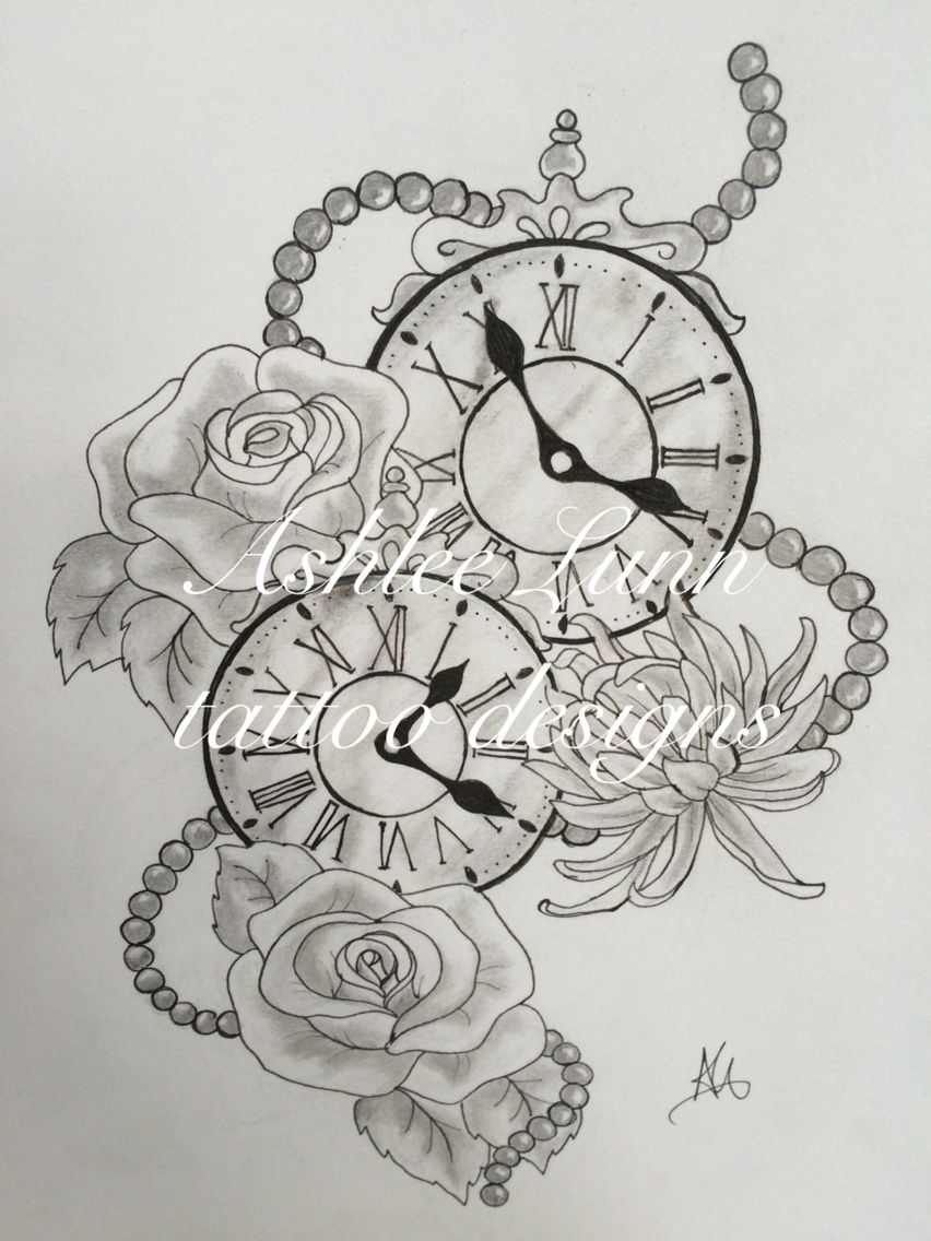 Black And White Clocks With Roses Chrysanthemums And Beads The Clocks Were The Times Her Two Children Were Born Clock Tattoo Tattoos For Kids Mom Tattoos