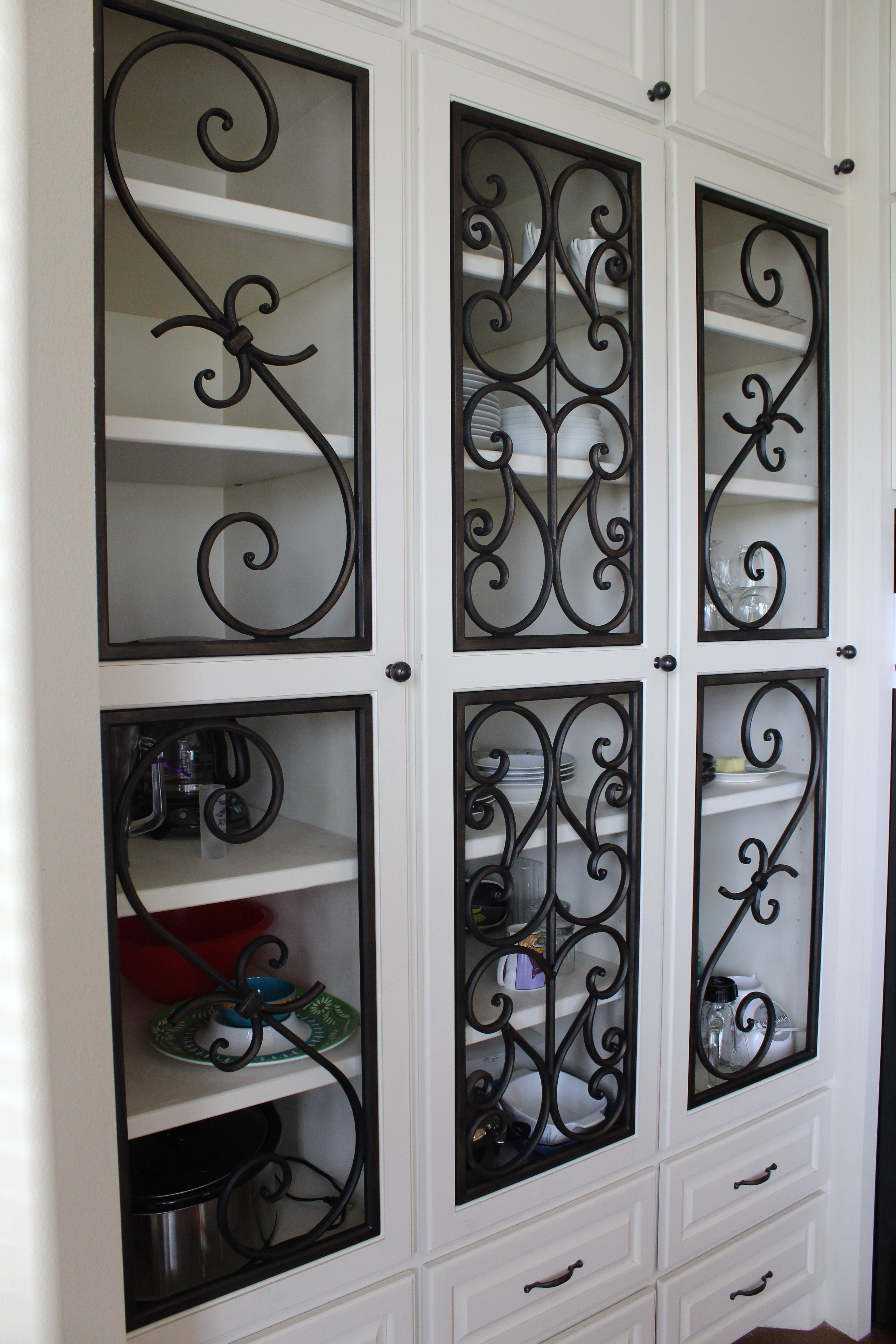Decorative Faux Wrought Iron Cabinet Insert Covering