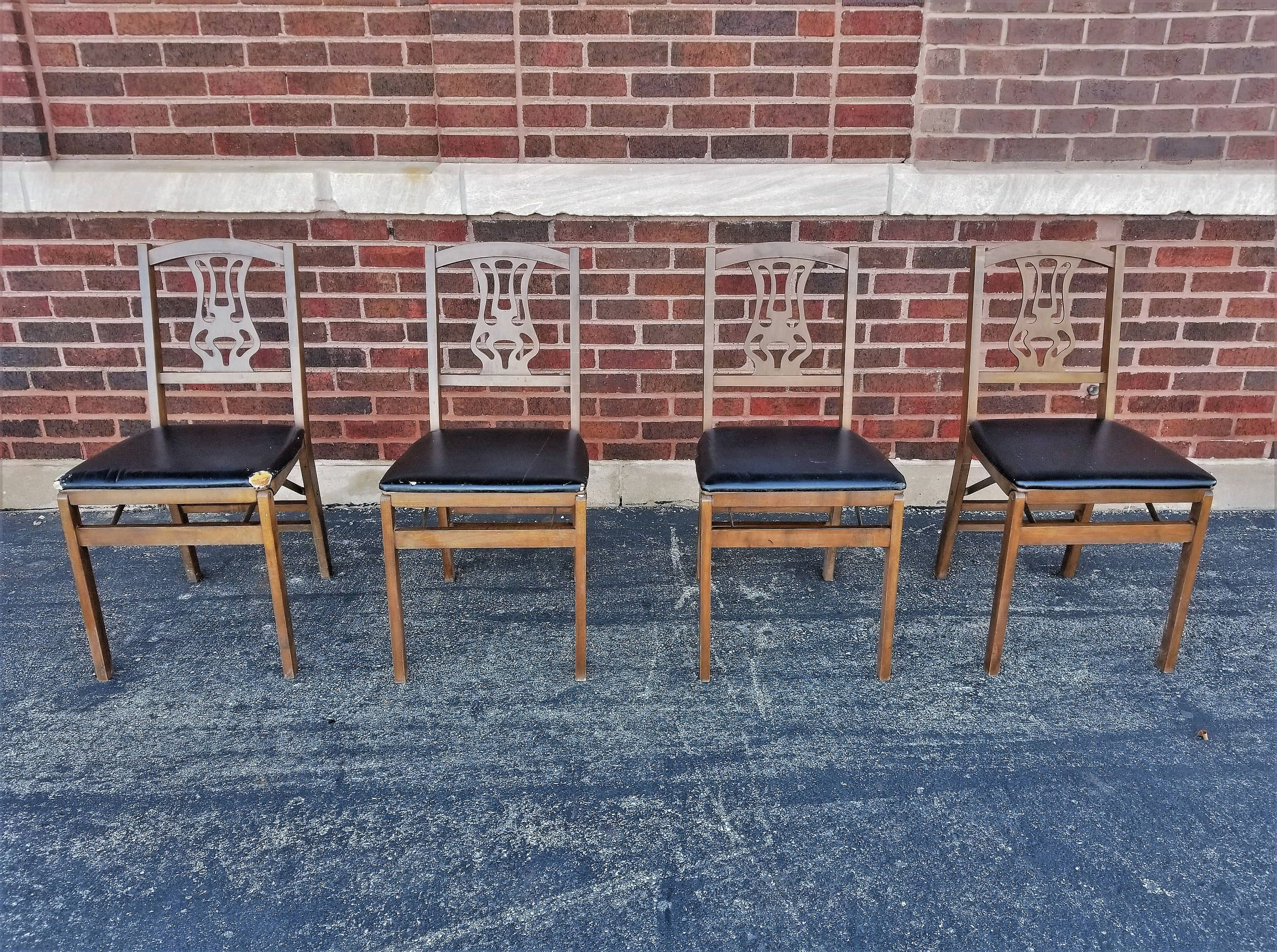 Vintage MCM Stakmore Wood Folding Chair Wood Set of 4 Padded Seat