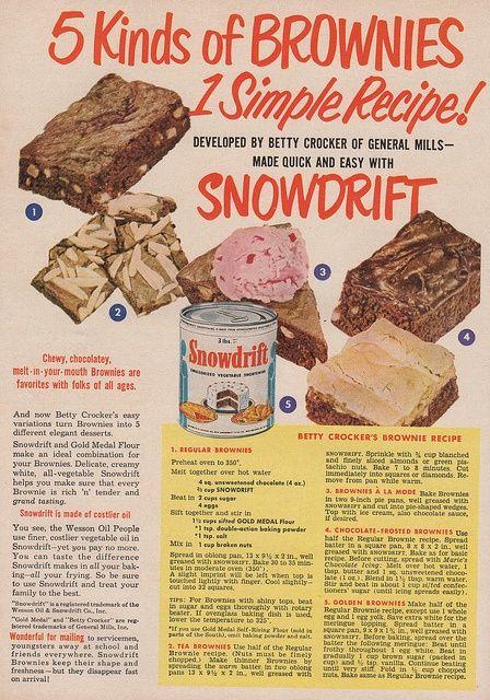 Vintage Brownie Brownie Recipe From Betty Crocker Snowdrift