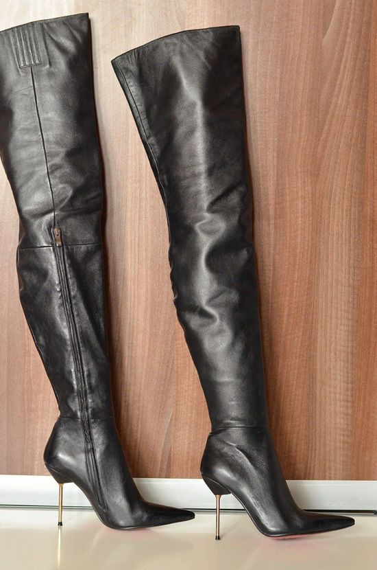 b0502e12d178 Arollo thigh high heels crotch boots pointy toe steel metal leather 38 8    eBay