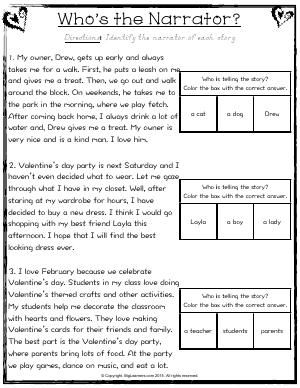 Worksheet Who S The Narrator Identify The Narrator Of Each