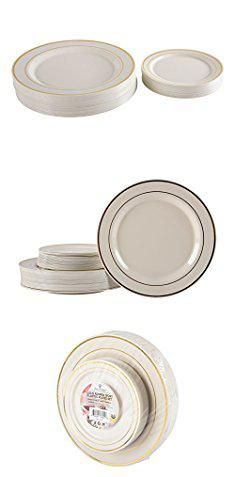 Gold Rimmed Plastic Plates. Premium Hard Plastic Gold Rimmed Ivory Plate Set By Oasis Creations - 25x9u0027u0027 u0026 25x6u201d - Disposable or Washable u0026 Reusable - Party ...  sc 1 st  Pinterest & Gold Rimmed Plastic Plates. Premium Hard Plastic Gold Rimmed Ivory ...