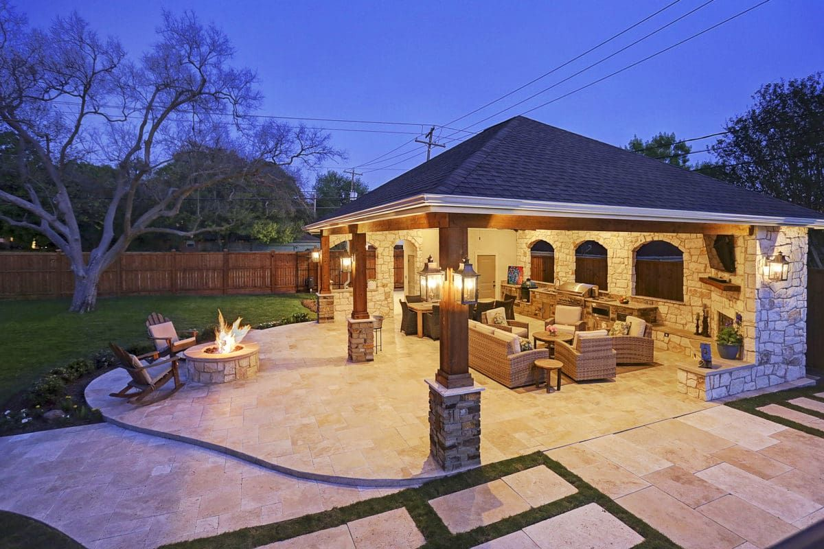 Expanded Outdoor Living Area In Houston Outdoor Living Space Design Outdoor Living Areas Backyard Pavilion