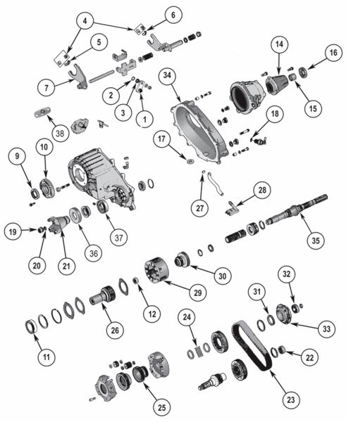 New Process NP242 Transfer Case Parts Exploded View