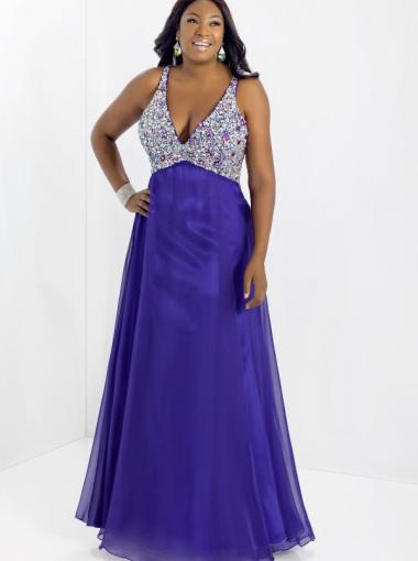 A Line V Neck Purple Long Formal Dress Evening Dressplus Size Prom