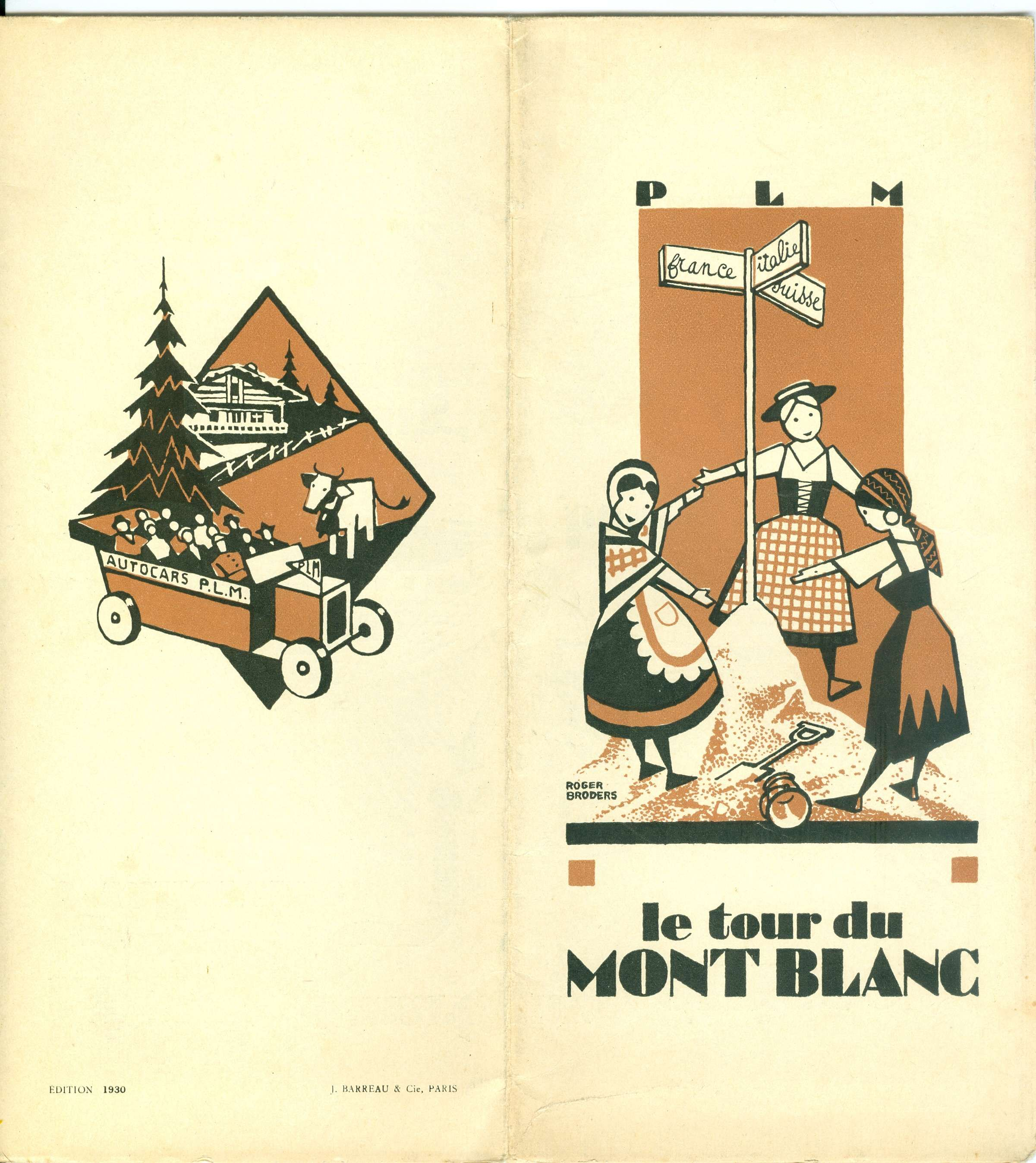 "Travel brochure ""Le Tour du Mont Blanc, Cover, 1930. Design by Roger Broders. Published by the PLM Railway."