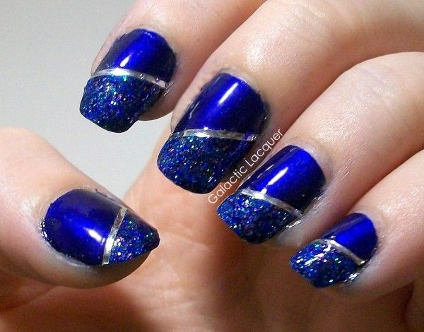 Fancy Striking Blue Nail Art Design Idea With Galactic And Silver Striping Line Accent