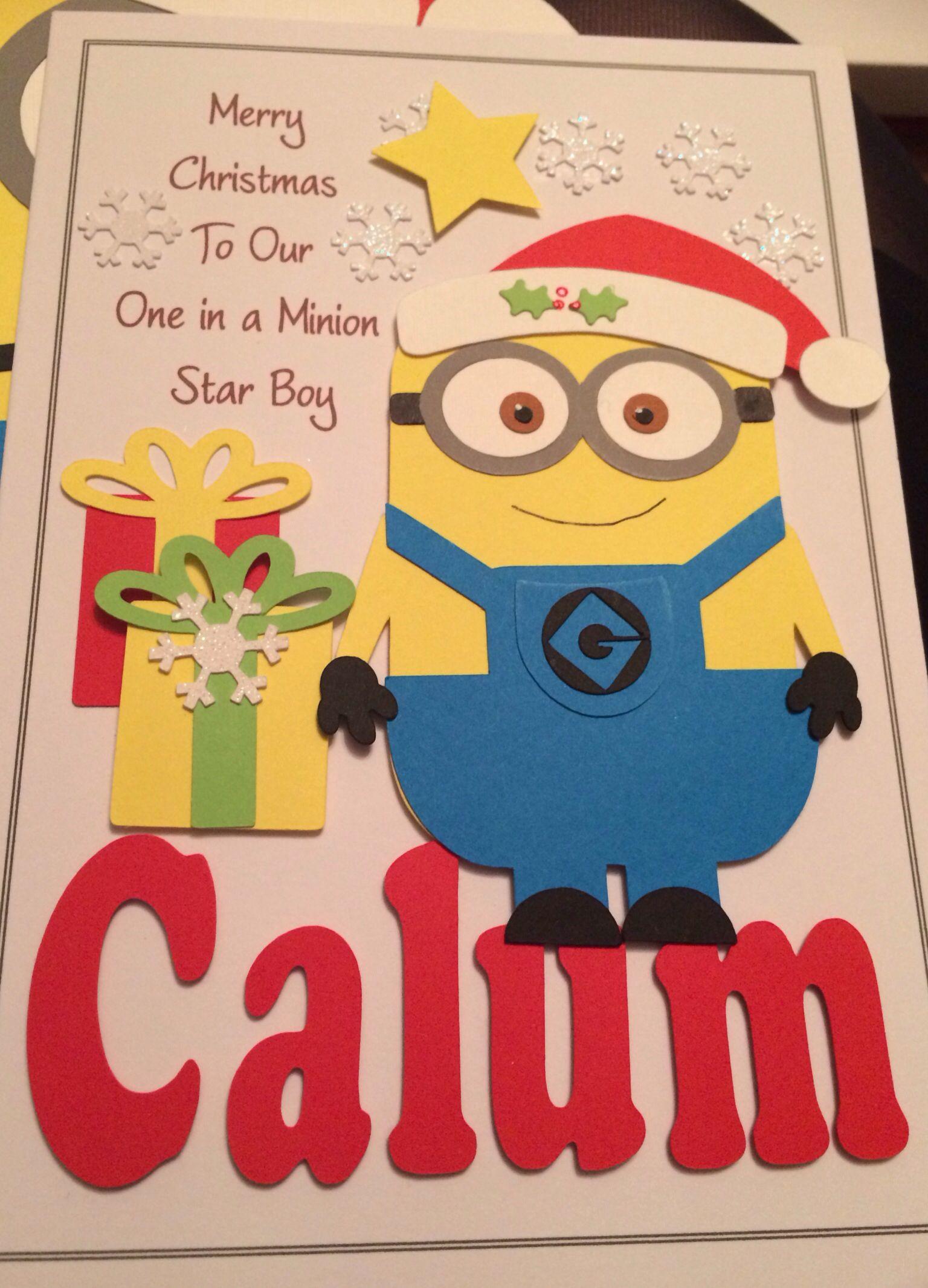 Star Boys Minion Christmas Card Minion Card Christmas Cards Christmas Card Crafts