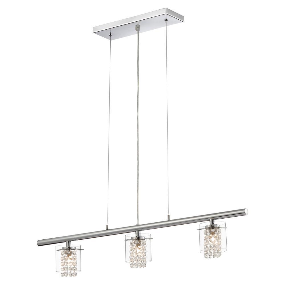 Bazz Glam Topaz Collection 3 Light Chrome Hanging Pendant Chrome Lights Kitchen Island Pendants