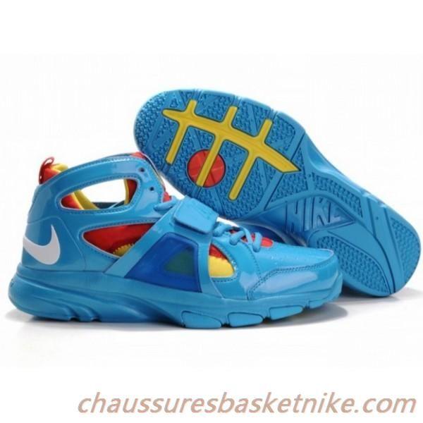 Nike Zoom Huarache Trainer Mid Hommes Basketball Chaussures Bleu Rouge 07ac2592bde5