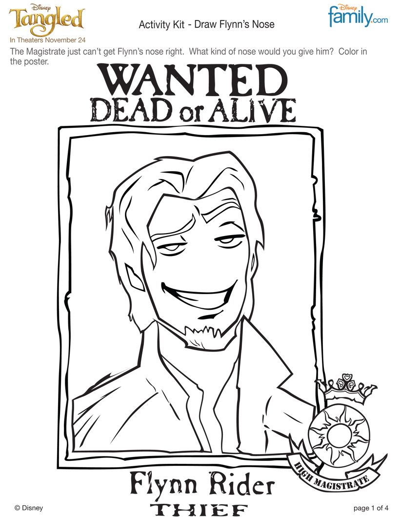 flynn rider coloring page blow this up for pin the nose on flynn