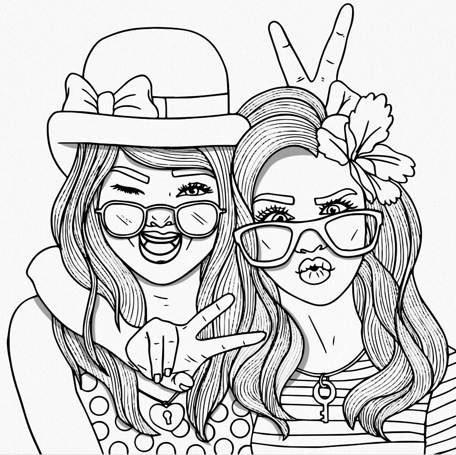 Bestie People coloring pages, Cute coloring pages, Cool