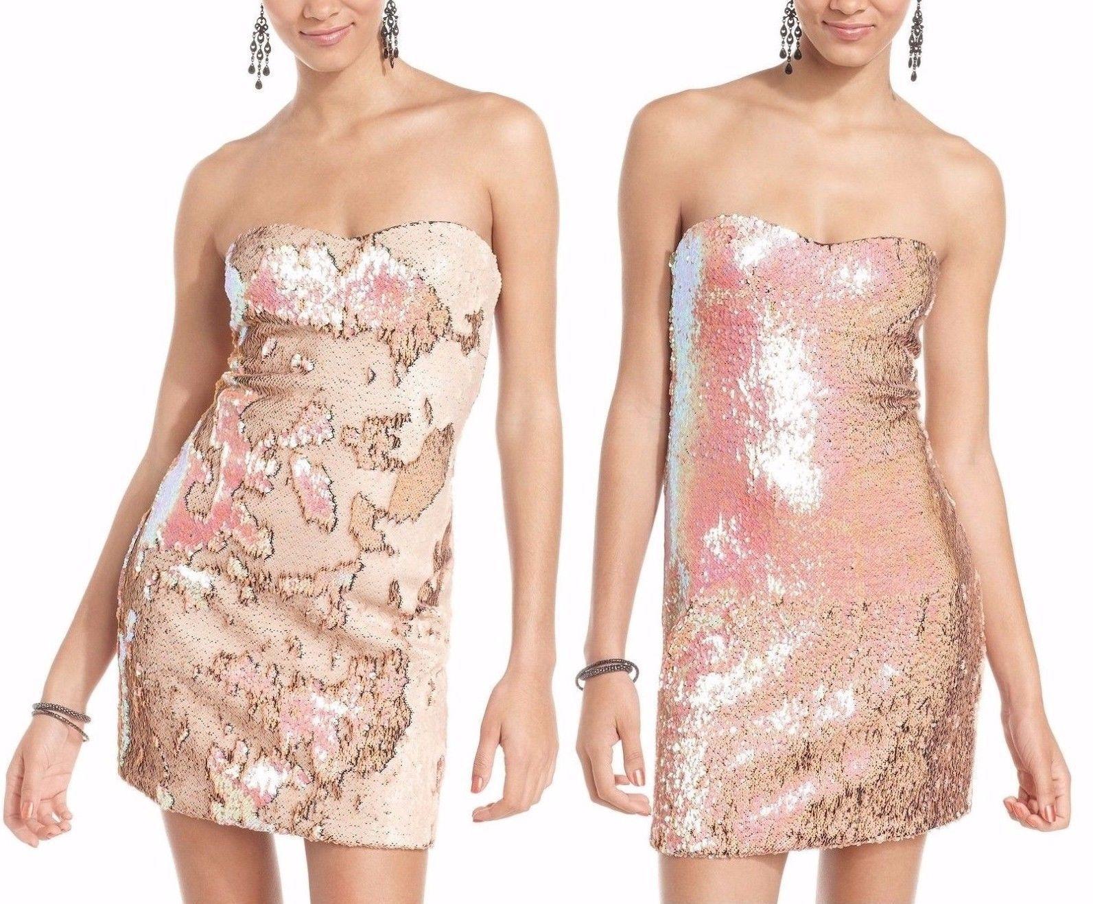 As U Wish Iridescent Pink Sequin Reversible Sweetheart Neckline Cocktail Dress Strapless Dress Formal Fashion Pink Sequin [ 1317 x 1593 Pixel ]