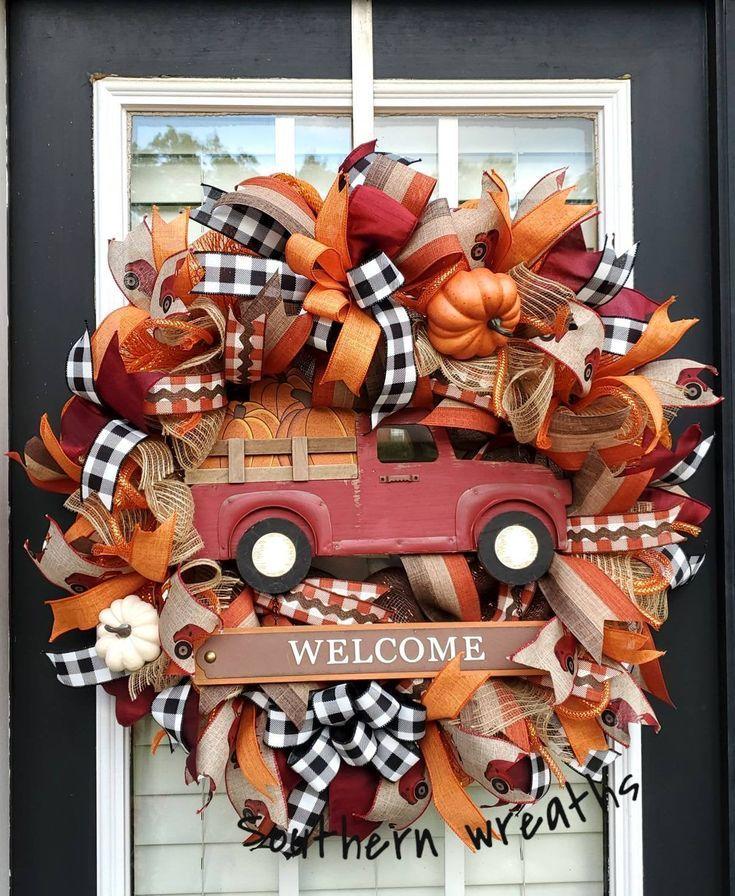 Fallen Sie Tür Kranz, Herbst Kürbis LKW Kranz, Herbst Kranz für Haustür, rote LKW Willkommen ... #decomeshwreaths