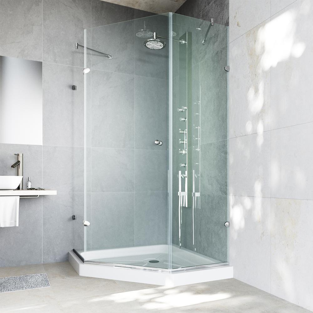 Vigo Verona 36 125 In X 76 75 In Frameless Neo Angle Shower