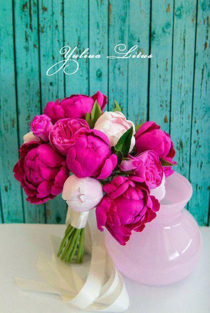 Купить Свадебный букет из полимерной глины с пионами - букет невесты, букет из глины