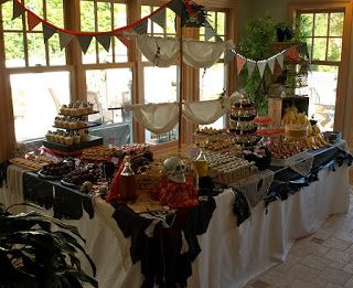 a. party style: pirate ship dessert table