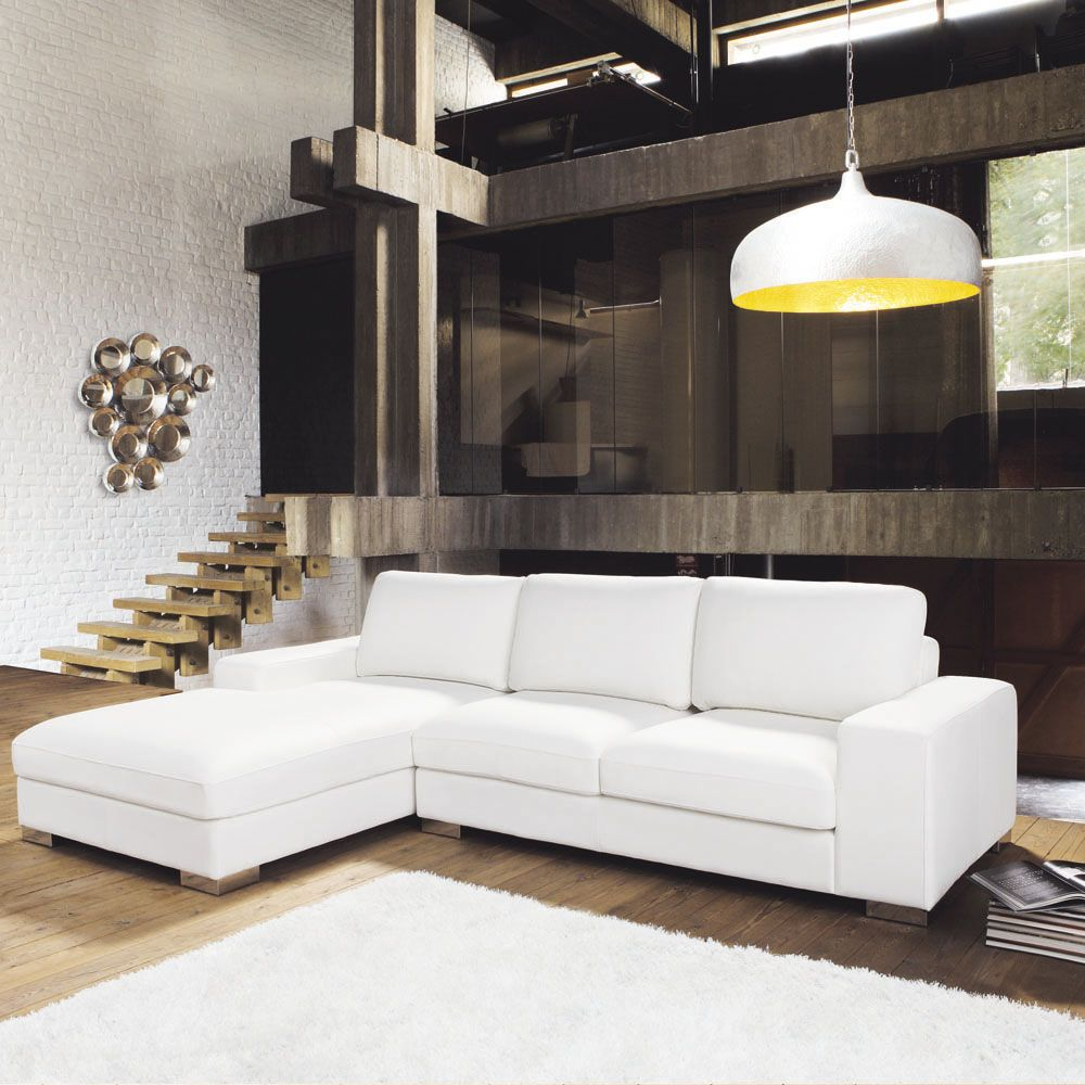 Canapé d angle gauche 5 places en cuir blanc
