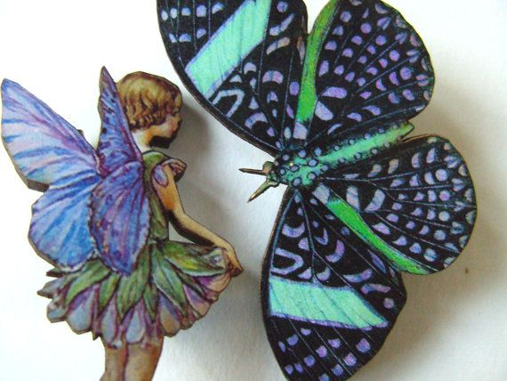 Two  purple llilac green wooden brooches by NewellsJewels on Etsy, £7.00