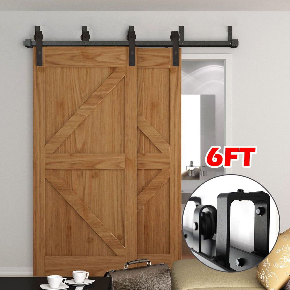 6ft 6 6ft 8ft Rustic Bypass Sliding Barn Wood Double Door Hardware Track Kit Set Home Garden Home Im Barn Doors Sliding Doors Interior Interior Barn Doors