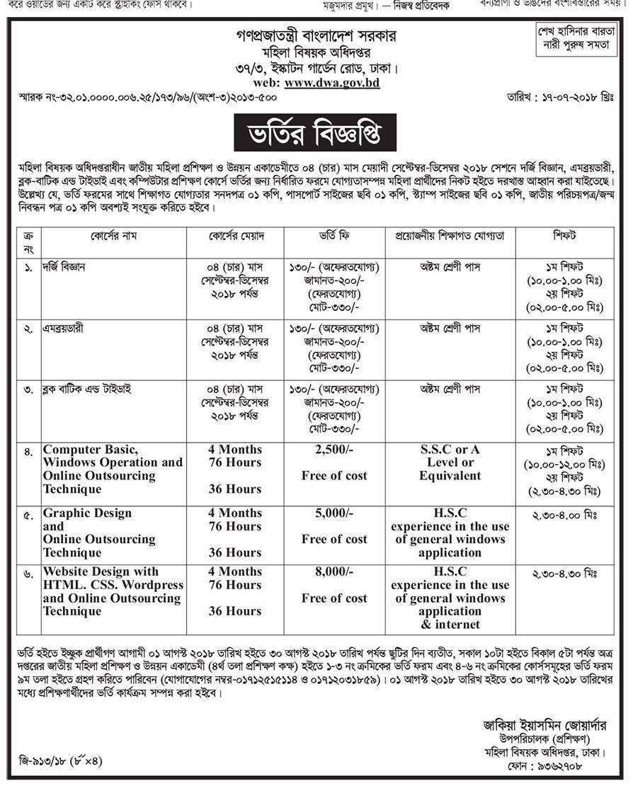 DWA Job Circular Apply Department of Women Affairs 2018 - www.dwa.gov.bd