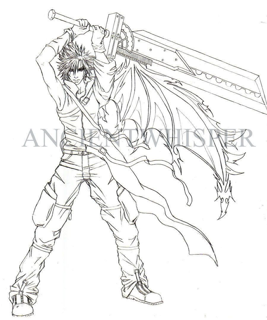 Coloring pages kingdom hearts - Cloud Strife Kingdom Hearts Cloud Strifekingdom Heartscoloring Pages Drawings