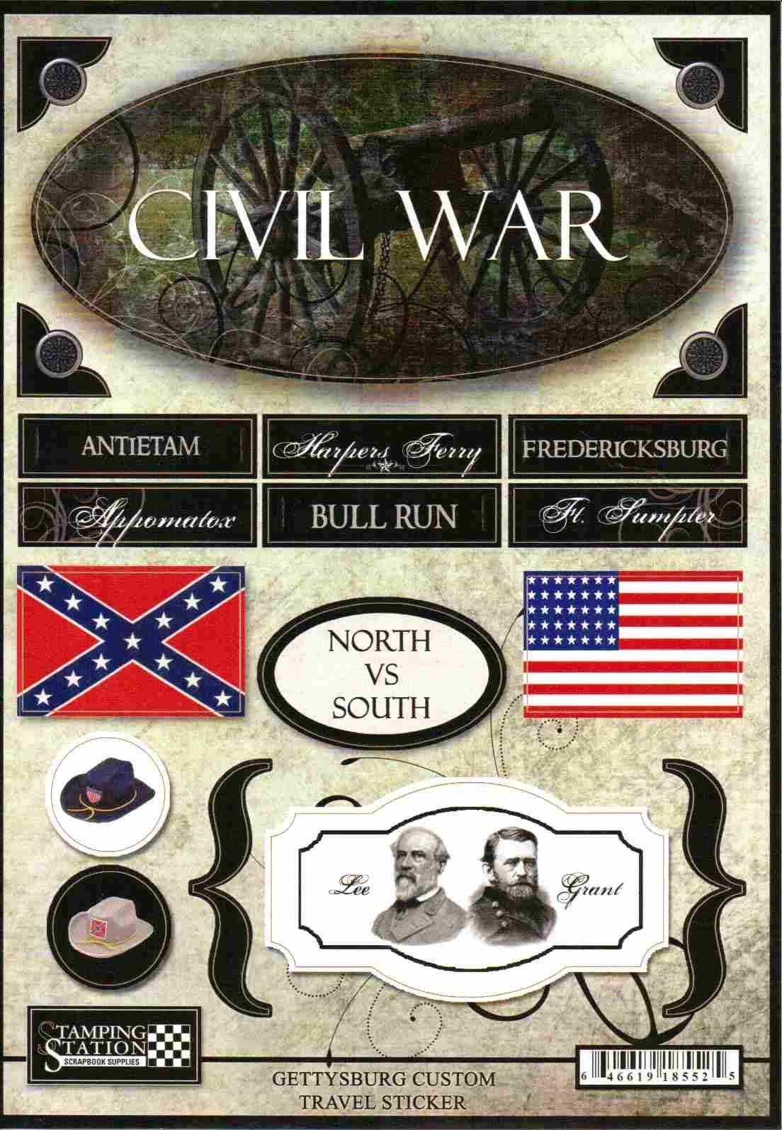 Scrapbook ideas military - Stickers Civil War Gettysburg Scrapbooking Scrapbook Stickers