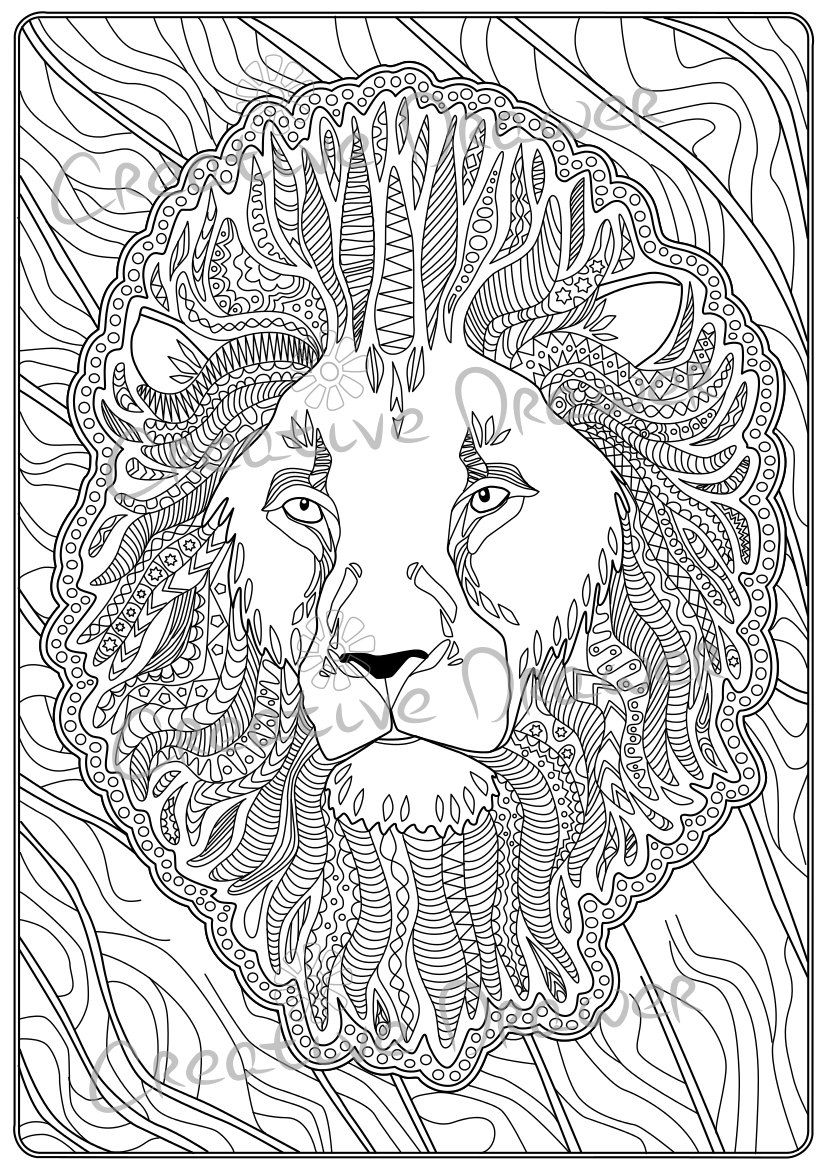 coloring book pages wild animals lion by creativedrawer on etsy