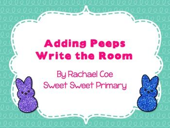 Practice adding to 10 with this sparkly peeps write the room!Included are 12 cards with sums to 10 and a recording sheet.