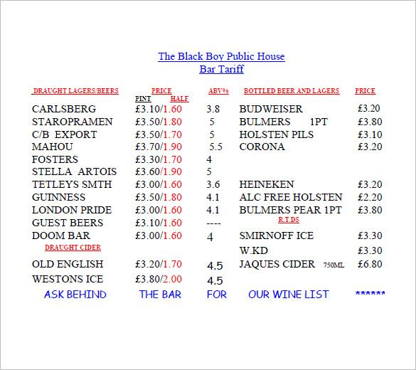 bar price list template , Lists to Add to Get an Attractive and - price list format