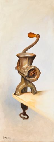 Oil-on-Canvas-Original-Signed-Painting-by-Daniel-Sergio-Meat-Grinder