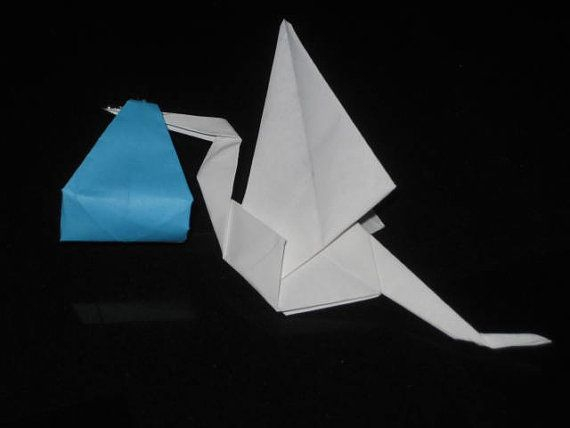 Set Of 24 Origami Stork With Light Blue Color By OrigamiByWingy